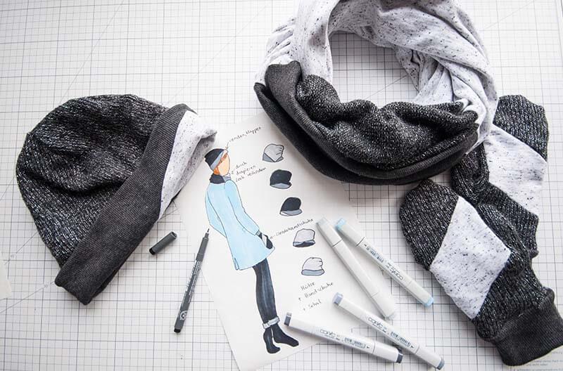 Winterset Mütze Schal Handschuhe nähen