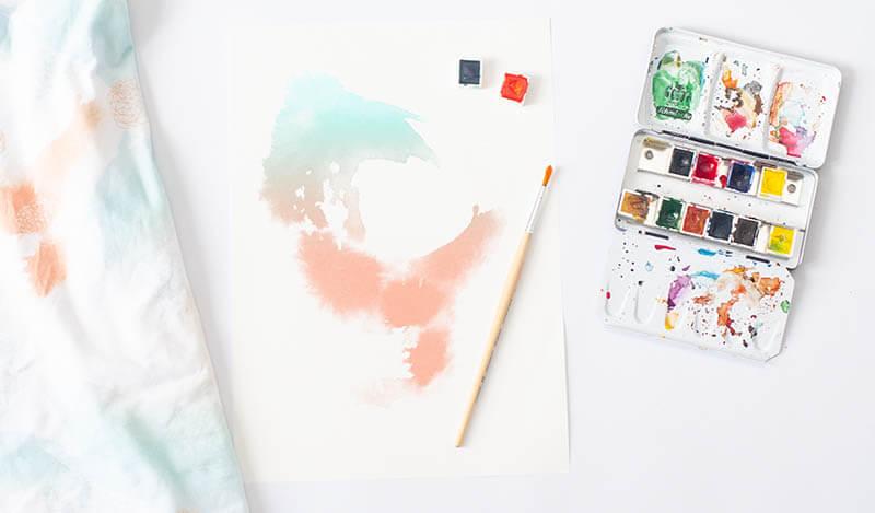 Eigenes Design auf Stoff bringen - Watercolor Fabric - Socken nähen Titel