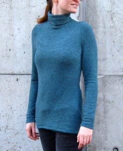 Rollkragen Pullover nähen für Damen in Petrol