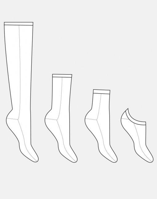 Technische Zeichnung Socken Schnittmuster Ringelprinz(essin) von Hilli Hiltrud. Stoffresteverwertung